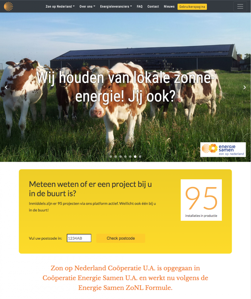 Voorpagina website zonopnederland.nl